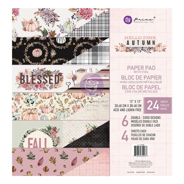Hello Pink Autumn Collection - 6x6 Paper Pad - Prima