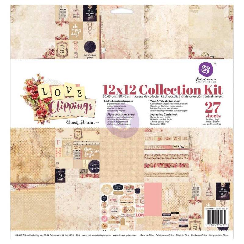 12x12 Collection Kit - LOVE CLIPPINGS - Prima