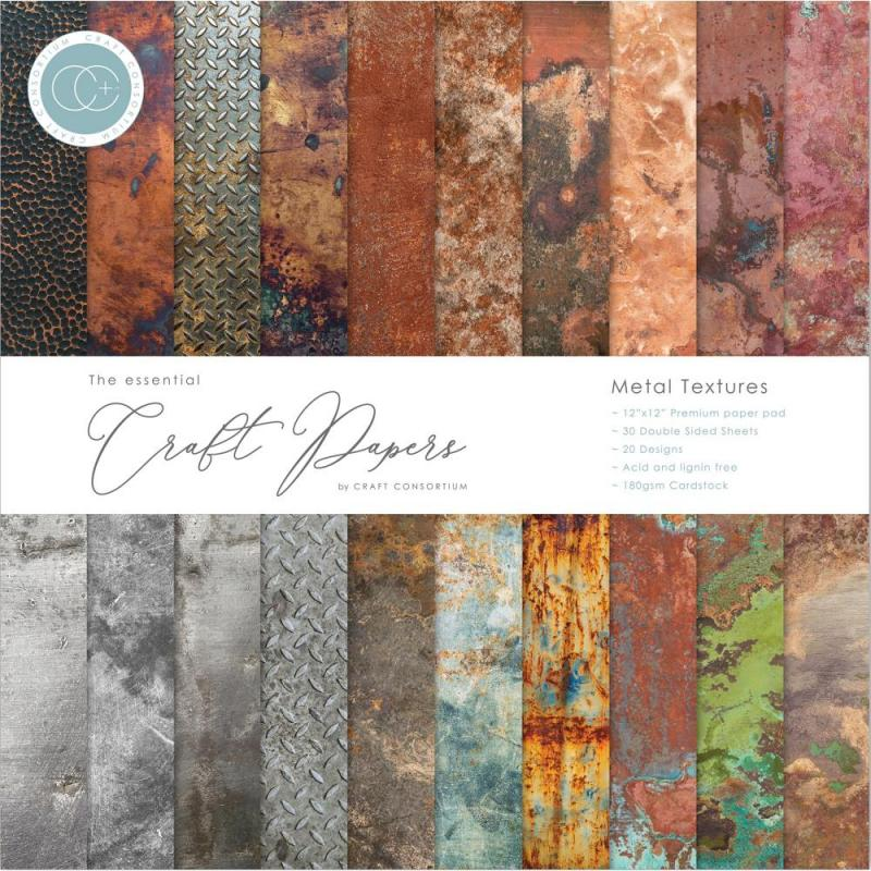 """METAL TEXTURES Double-Sided Paper Pad 12""""X12"""" - Craft Consortium"""