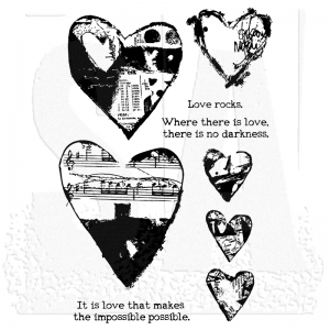 Dina Wakley - Stamps COLLAGED HEARTS - Ranger