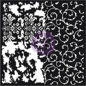 DISTRESSED FLOURISH Re-Design Mixed Media Decor Stencil - Prima