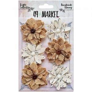 Rustic Canvas and Burlap Medium Blooms 6pcs - 49 and Market