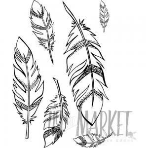 49 & Market Clear Stamps Feathers