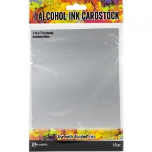 Alcohol Ink Cardstock BRUSHED SILVER - Ranger