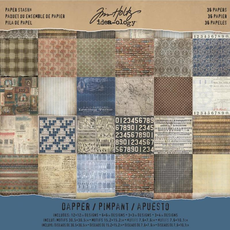 Dapper 12x12 Paper Stash - Tim Holtz