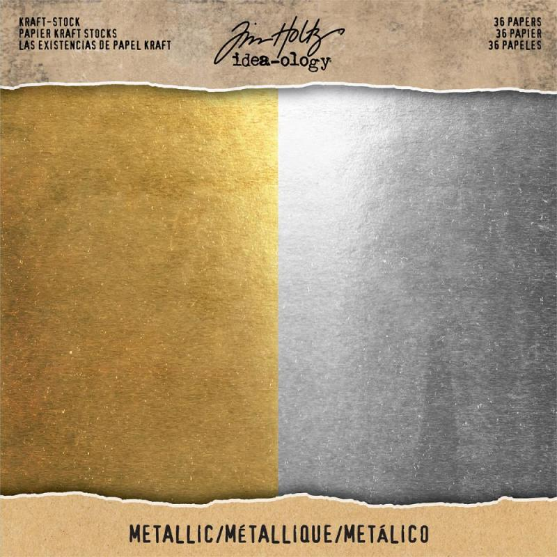 "Metallic Gold & Silver Cardstock Pad 8""X8"" - Tim Holtz"