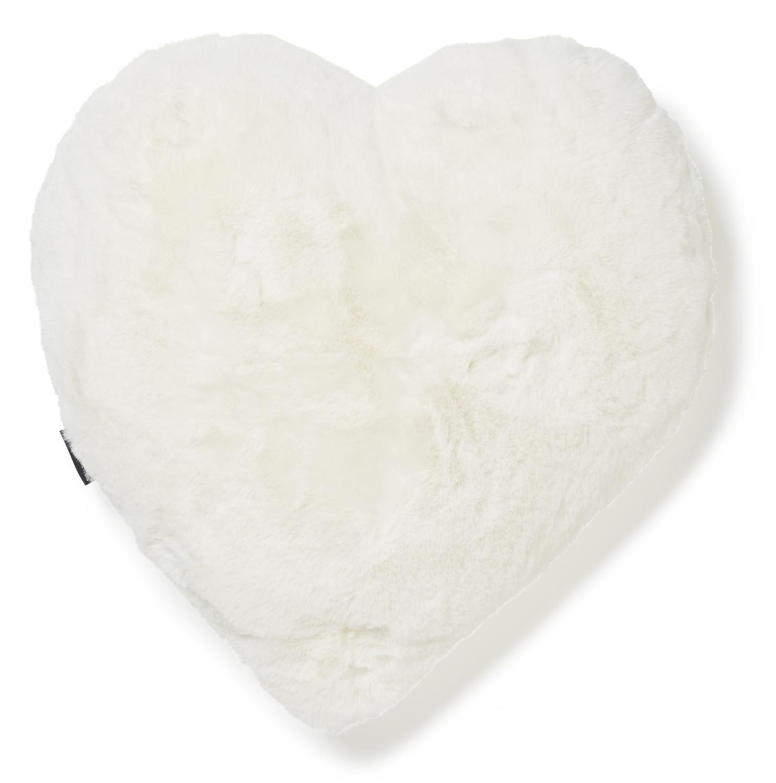 Fluffy heart cushion - Ivory