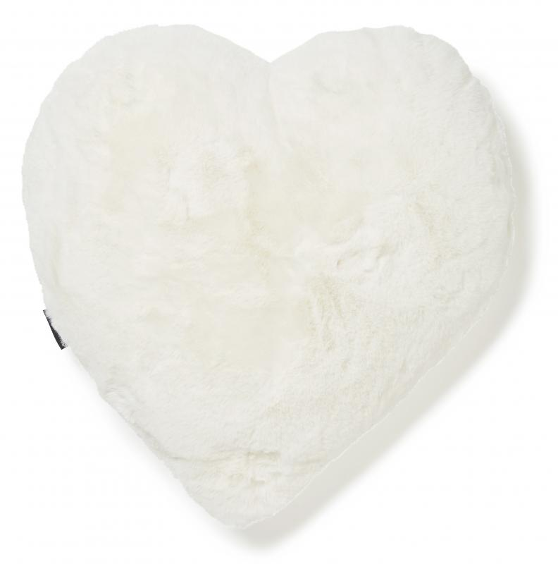 Fluffy heart cushion - Ivory