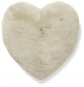 Fluffy heart cushion - Beige