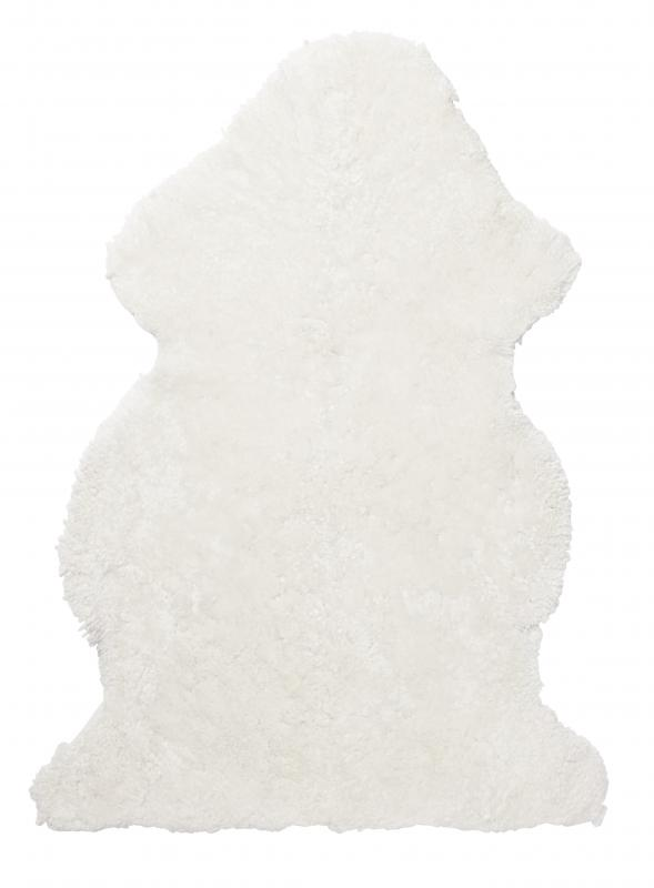 Curly rug. Sheepskin - White