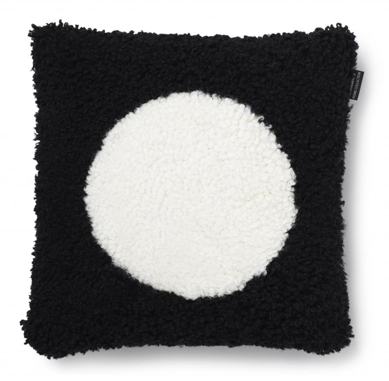 Curly Cushion cover 45x45 - Black/White