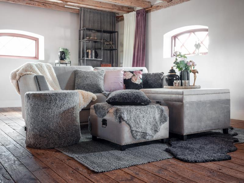 Curly rug. Sheepskin - Charcoal Silvergrey