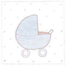 Kort - Blå barnvagn