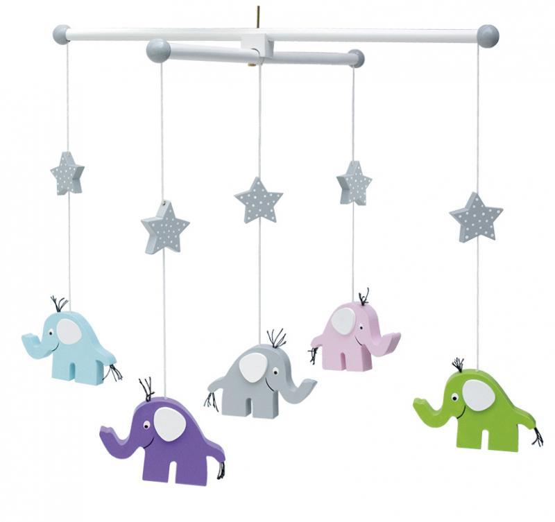Trämobil Elefant -Blå