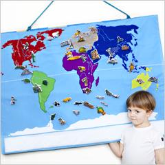 Världskarta i tyg