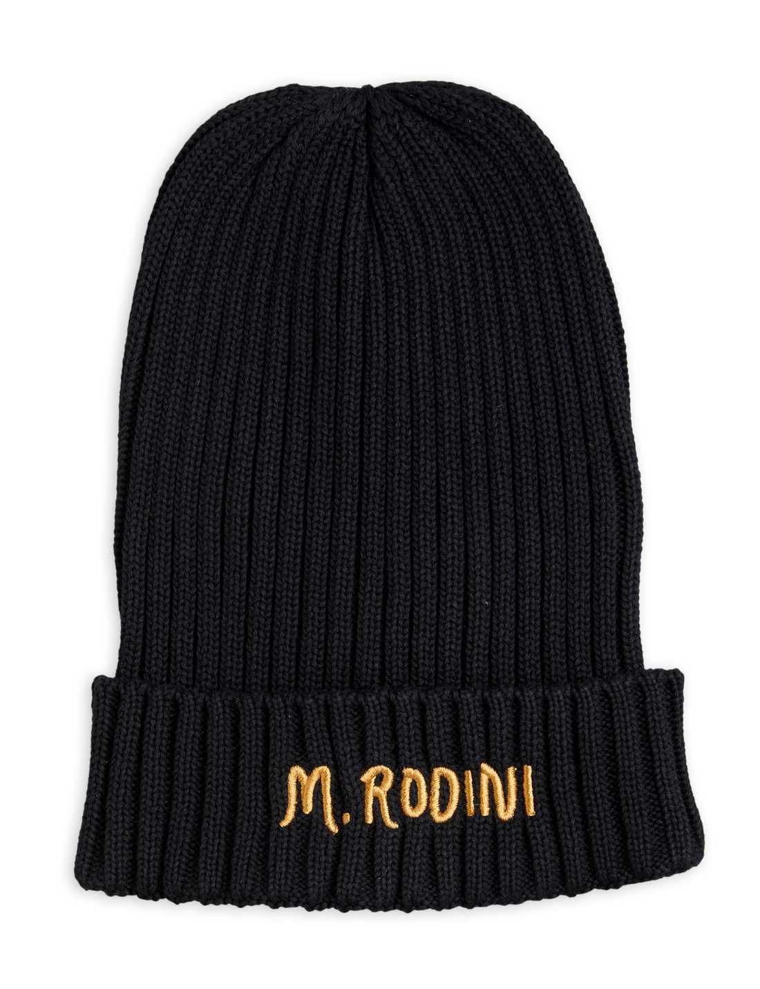 MINI RODINI FOLD UP RIB HAT BLACK