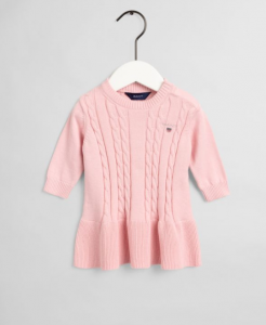 GANT KLÄNNING COTTON CABLE DRESS PINK
