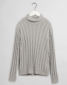 GANT COTTON CABLE TURTLE NECK GREY