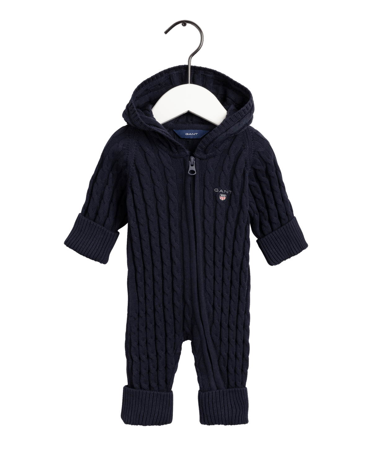 GANT COTTON CABLE ZIP COVERALL EVENING BLUE