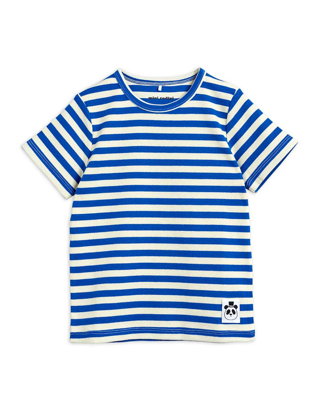 MINI RODINI STRIPE RIB SS TEE BLUE