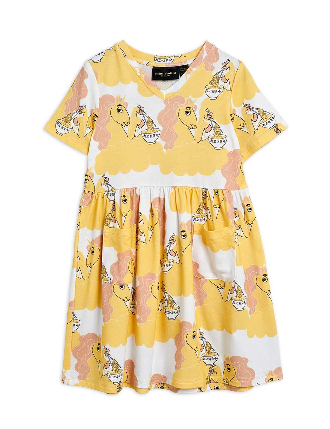 MINI RODINI UNICORN NOODLES SS DRESS YELLOW