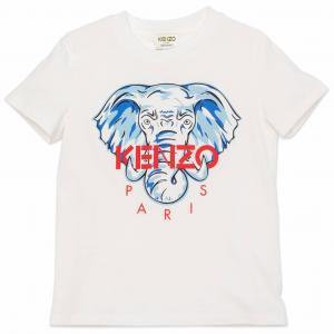KENZO T-SHIRT ELEFANT VIT//BLÅ K25117