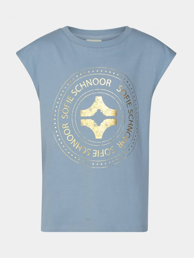 SOFIE SCHNOOR T-SHIRT P212207 BLUE GOLD PRINT