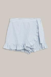 GRUNT SARI CHECK SHORTS BLUE