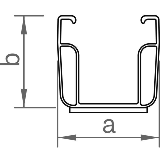 Novotegra - Kort C-skena - C47 med EPDM - 385 mm