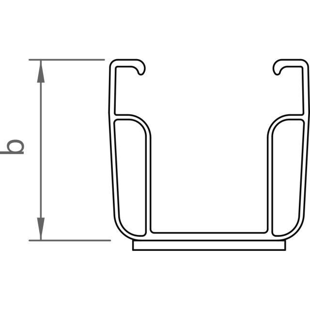 Novotegra - Kort C-skena - C47 med EPDM - 200 mm