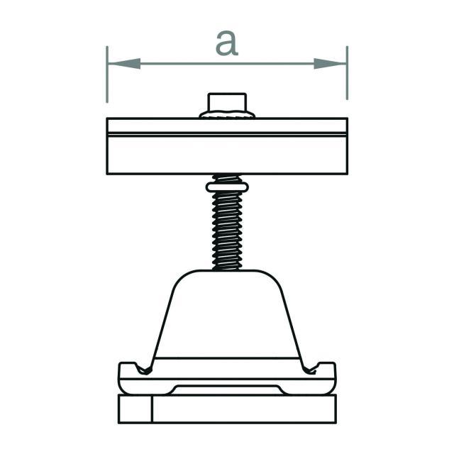 Novotegra - Mittklämma 30-42 mm. Svart. C-skena