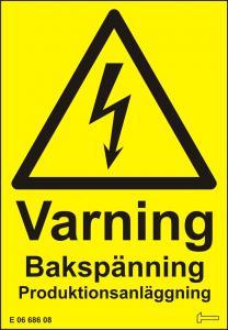 Dekal - Varning Bakspänning Produktionsanläggning
