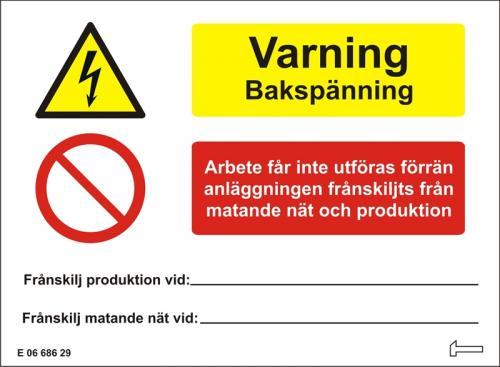 Dekal - Varning Bakspänning Arbete får inte utföras...