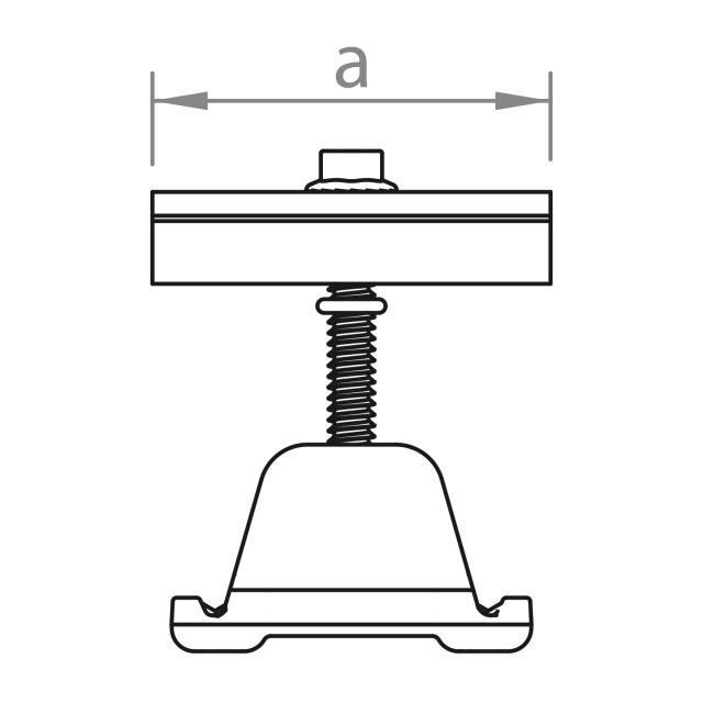 Novotegra - Mittklämma 43-52 mm. Svart. C-skena