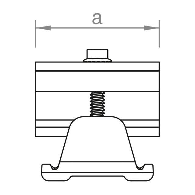 Novotegra - Ändklämma 43-52 mm. Svart. C-skena