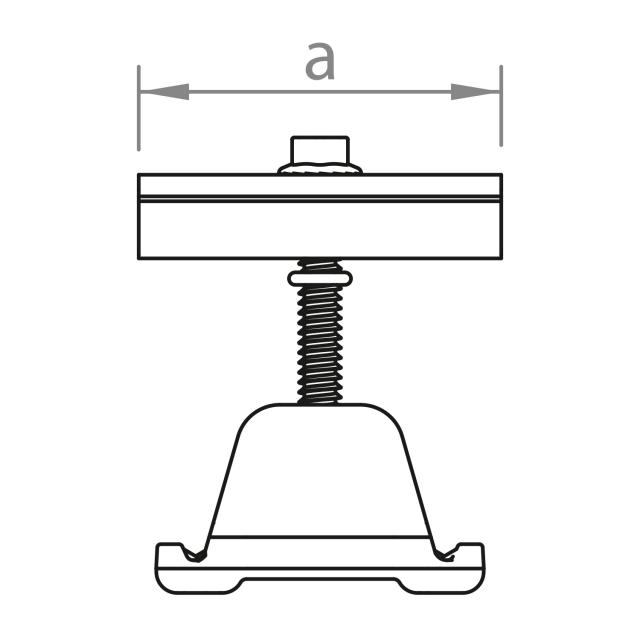 Novotegra - Mittklämma 28-33 mm. Svart. C-skena