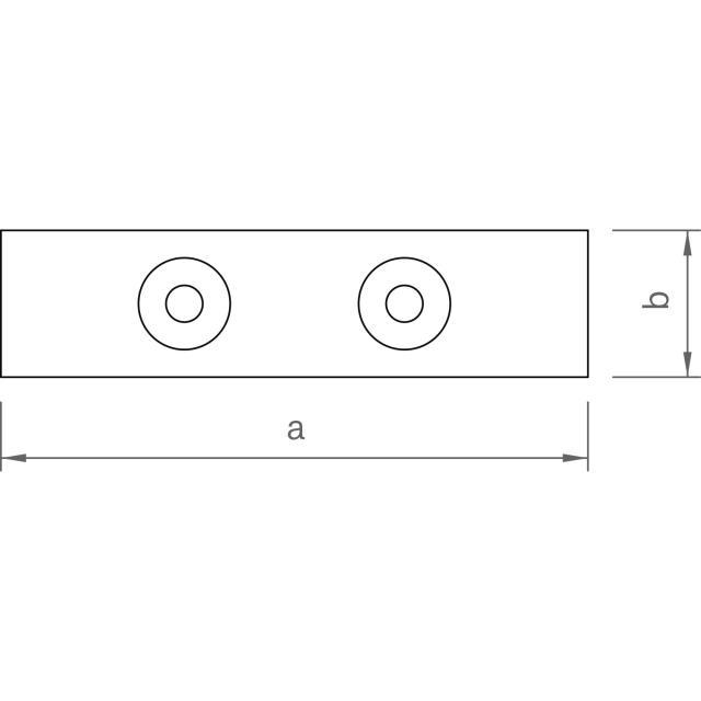 Novotegra - Skruvplatta för vertikal panelsäkring. Ofärgad aluminum. Set med skruv och brickor