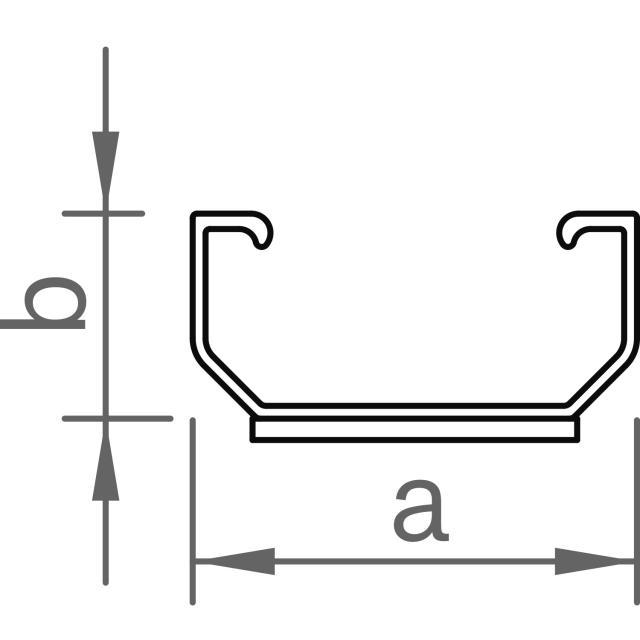 Novotegra - Kort C-skena - C24 med EPDM - 125 mm