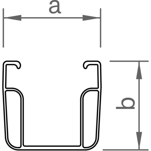 Novotegra - C-skena - C47 - 2,20 m x 47 mm, svart