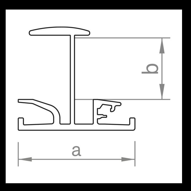 Novotegra - Iläggsskena - IR35 - Svart 5.40 m x 35 mm