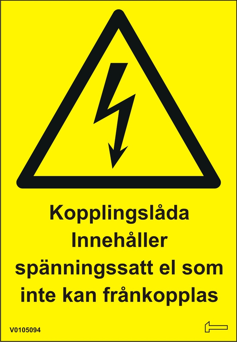 Dekal - Kopplingslåda innehåller spänningssatt el...