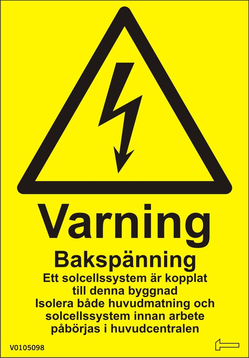 Dekal - Varning Bakspänning Ett solcellssystem...