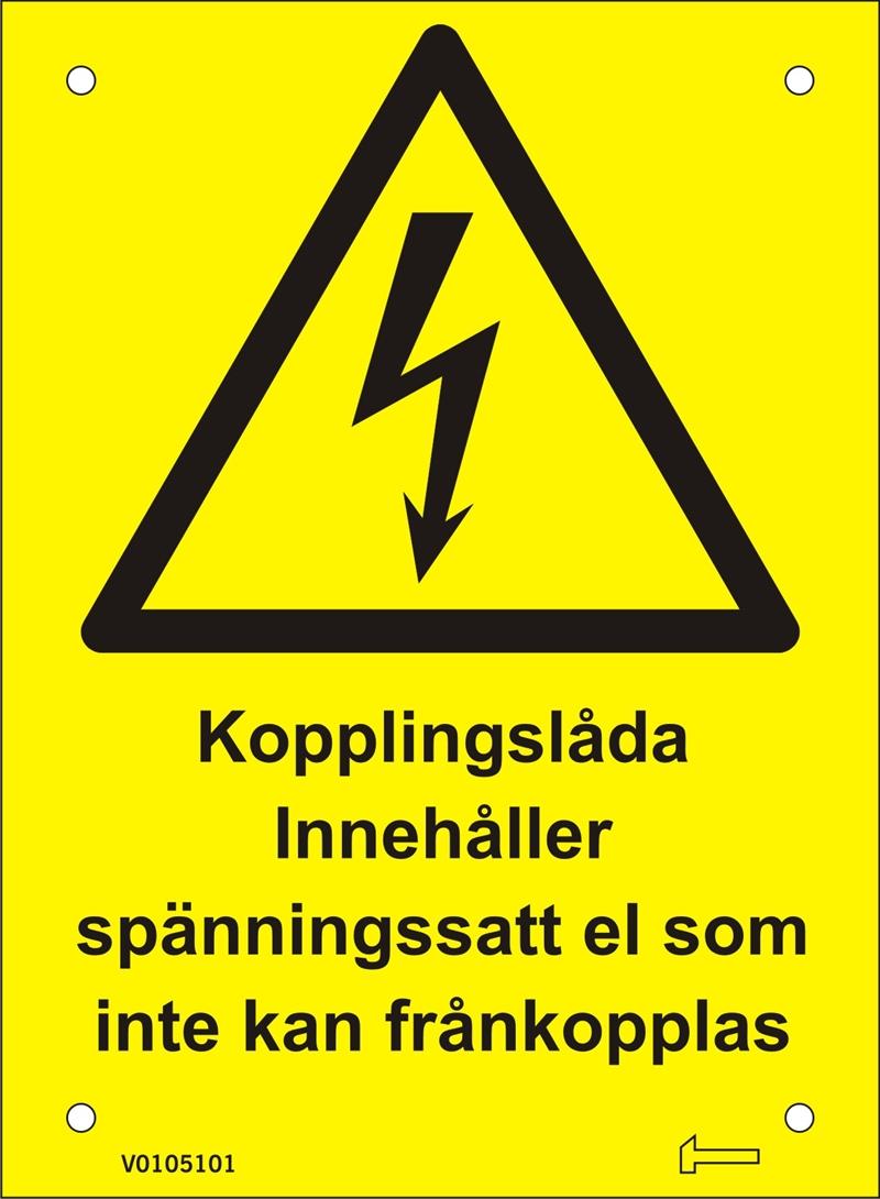 Skylt - Kopplingslåda innehåller spänningssatt el...