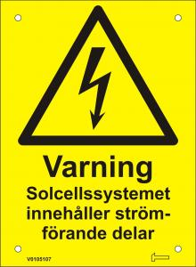 Skylt - Varning Solcellssystemet innehåller ström...