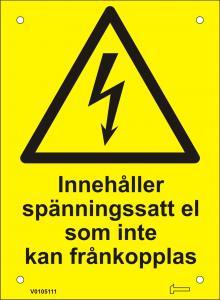 Skylt - Innehåller spänningssatt el som inte...