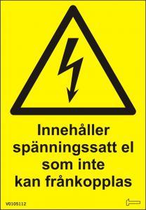 Dekal - Innehåller spänningssatt el som inte...