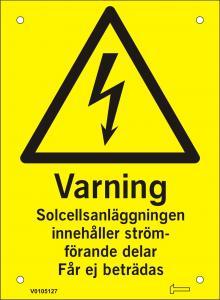 Skylt - Varning Solcellsanläggningen innehåller ström...