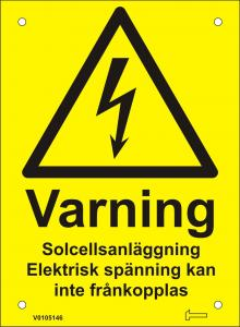 Skylt - Varning Solcellsanläggning Elektrisk spänning...