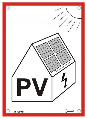 Skylt - Solcellsanläggning, röd ram