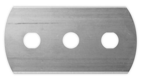 tre hål rakblad med runda kanter